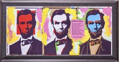 Steve Kaufman Original Oil Painting Abraham Abe Lincoln Large Three Faces