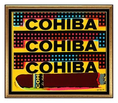 Steve KAUFMAN Original Oil Painting On Canvas Cohiba Cigars Signed Artwork Rare