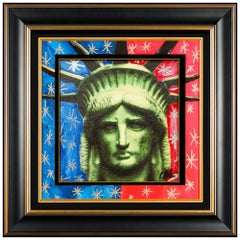Steve Kaufman Original Painting Acrylic On Canvas Signed Statue of Liberty Head