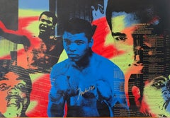 Mohammed Ali Pop Art Color Screenprint with Real Mohammed Ali Signature