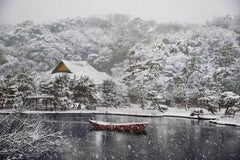Boat Covered in Snow in Sankei-en Garden, Yokohama, Japan