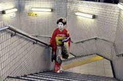 Geisha in Subway, Tokyo, Japan