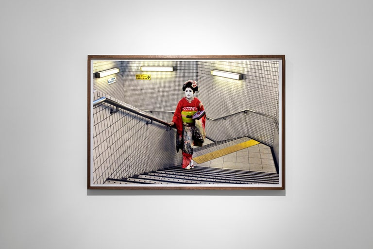 Geisha in Subway, Kyoto, Japan, 2007 - Colour Photography, Portrait Photography - Gray Figurative Photograph by Steve McCurry