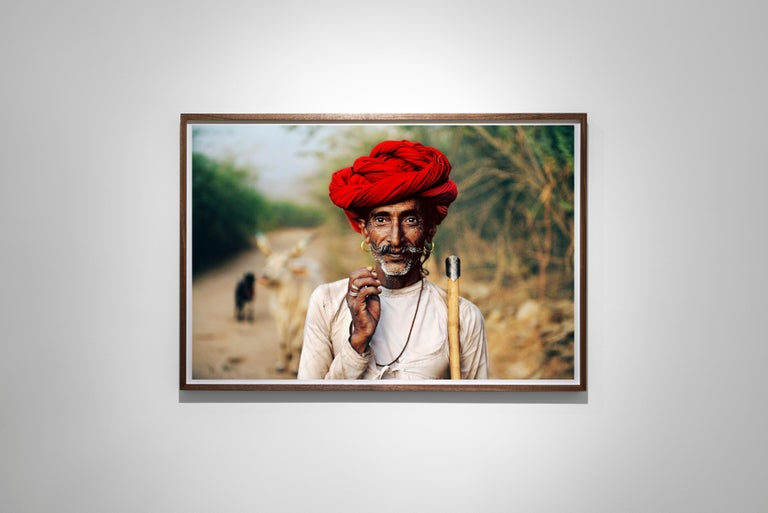 Rabari Shepherd, Rajasthan, India, 2009 - Colour Photography - Brown Color Photograph by Steve McCurry