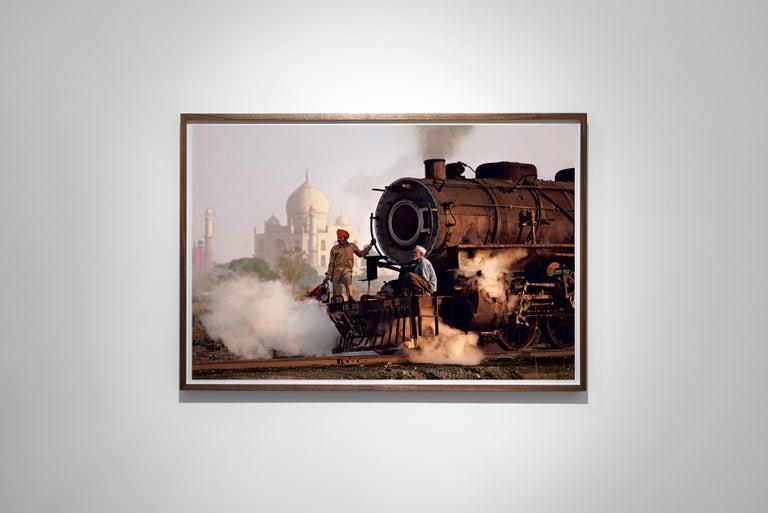 Taj and Train, Agra, India, 1983 - Colour Photography - Beige Landscape Photograph by Steve McCurry
