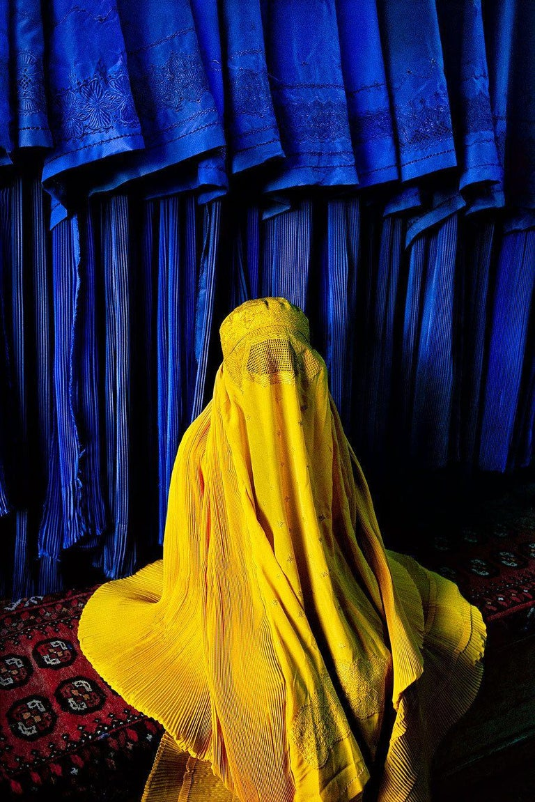 Woman in Canary Burqa - Photograph by Steve McCurry