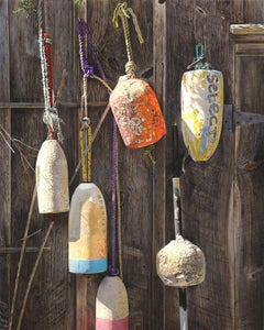 RETIRED, photo-realism, bouys hanging on wood fence, yellow, orange, sunlight