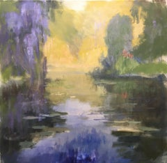 Wisteria  ,Texas landscape, oil painting, Contemporary Impressionistic style