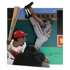 Steve Sax 'The Dominican Dandy' Tony Perez Vs Juan Marichal Baseball Painting