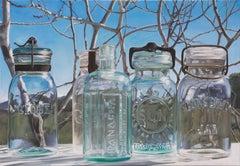 ENDLESS SKY, photo-realism, still-life, glass jars, blue sky, winter backdrop