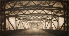 """Infrastructure #15"", urban architectural etching print, Brooklyn Bridge, NYC."