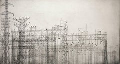 """""""Infrastructure #18"""", urban industrial landscape etching print, black and white."""