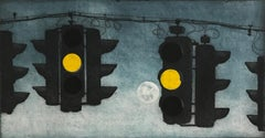 Something About The Moon 13, architectural landscape etching print, blue gray.