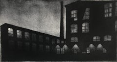 Something About The Moon 18, architectural landscape etching print, warm black.