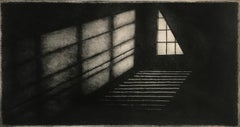 Something About The Moon 19, architectural landscape etching print, warm black.