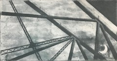 Something About The Moon Six, architectural landscape etching print, silvergray.
