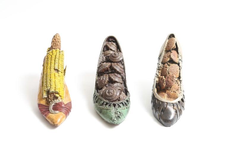 American Steve Tobin Painted-Bronze Shoe Sculptures For Sale