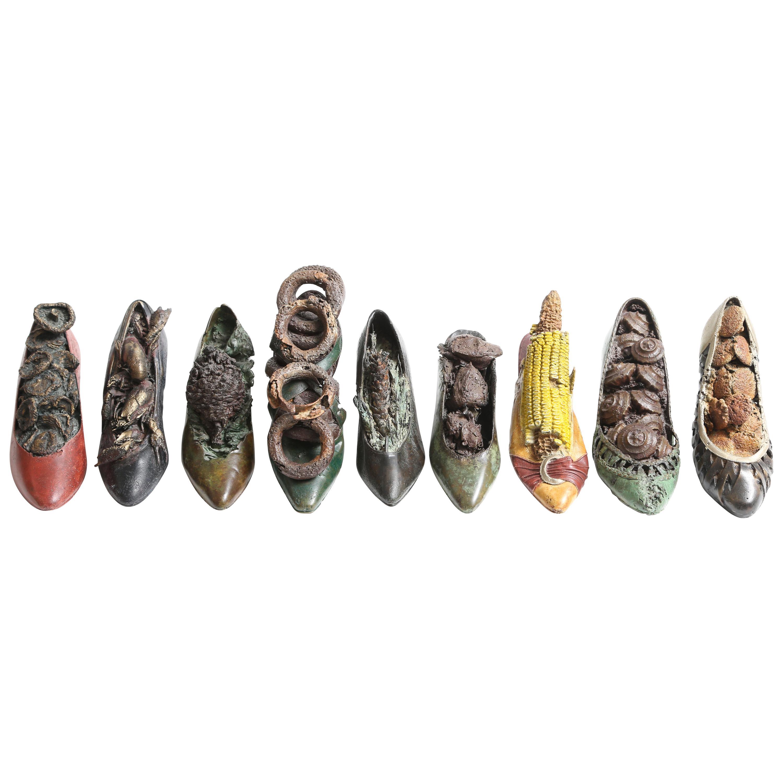 Steve Tobin Painted-Bronze Shoe Sculptures
