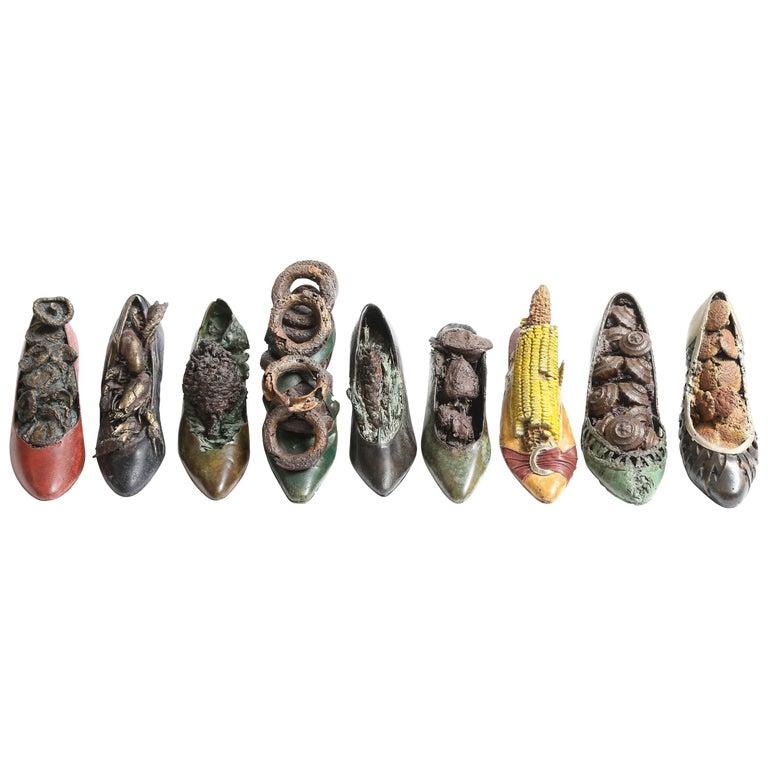 Steve Tobin Painted-Bronze Shoe Sculptures For Sale