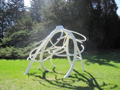 """Steelroot"", Large Contemporary Abstract Metal Sculpture in White"