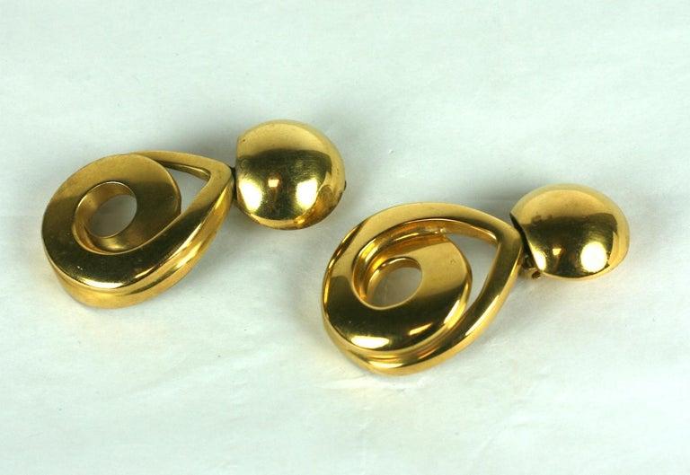 Women's Steve Vaubel Matte Gold Swirl Pendant Drop Earrings For Sale