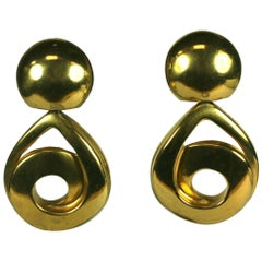 Steve Vaubel Matte Gold Swirl Pendant Drop Earrings