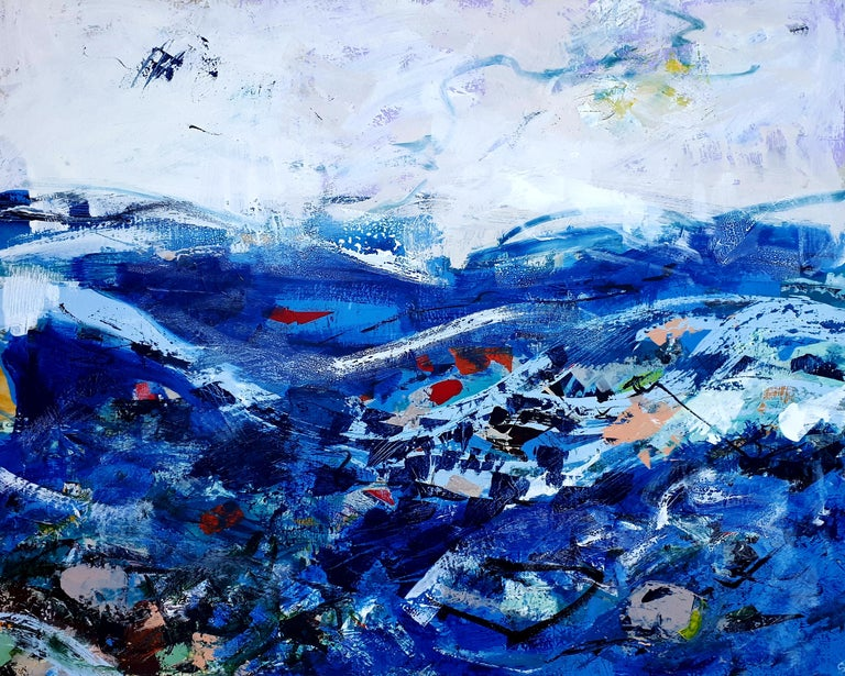 From The Shore - Abstract seascape painting of ocean scene, blue waves