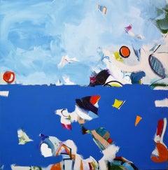 Indigo Sea - Abstract seascape painting of ocean scene, blue waves