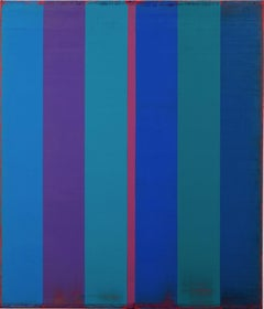 Is and Was 30, Vertical Striped Abstract Painting in Blue, Purple, Magenta, Teal