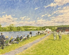 Large English Impressionist Signed Oil Painting - Start of the Regatta Race