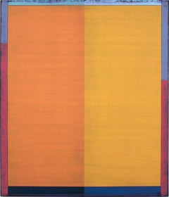Palm Six, Vertical Abstract Painting with Orange, Blue, Purple Blocks of Color