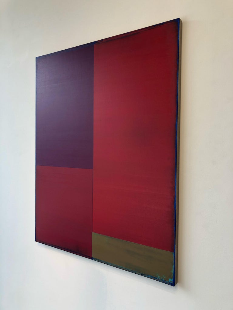 Passage Two, Vertical Abstract Color Field Painting, Purple, Red, Brown, Blue For Sale 3
