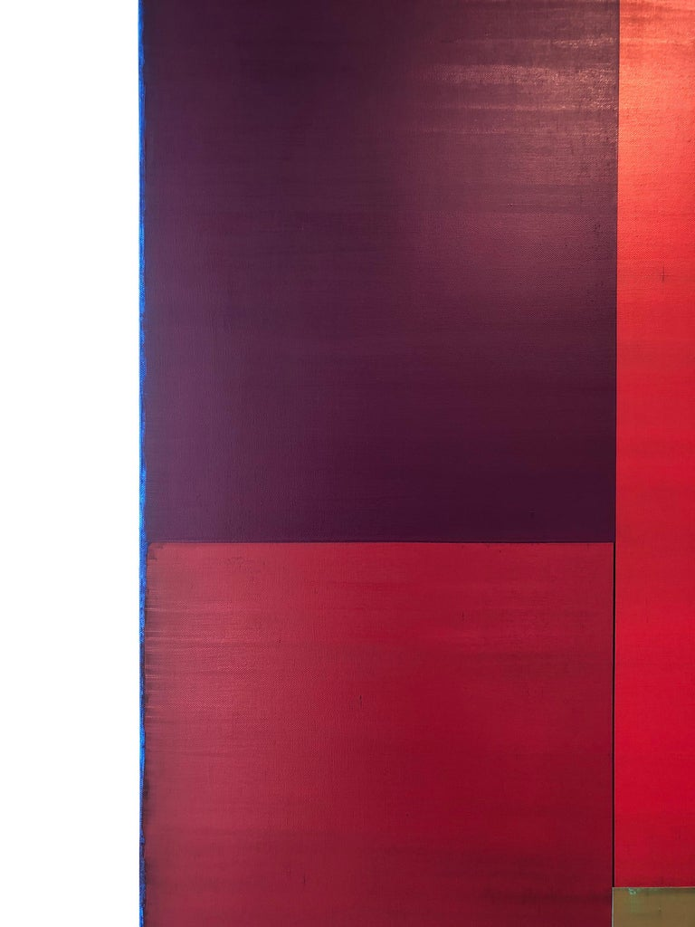 Passage Two, Vertical Abstract Color Field Painting, Purple, Red, Brown, Blue For Sale 4