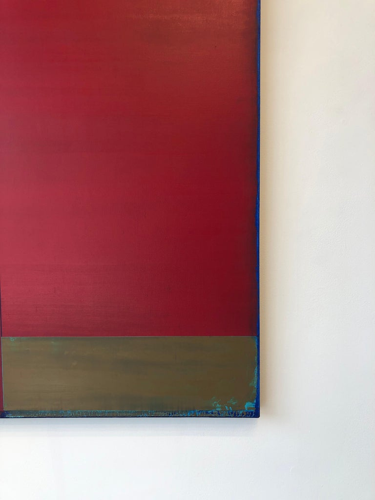 Passage Two, Vertical Abstract Color Field Painting, Purple, Red, Brown, Blue For Sale 5