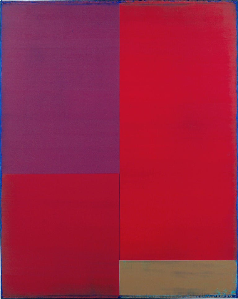 Steven Alexander Abstract Painting - Passage Two, Vertical Abstract Color Field Painting, Purple, Red, Brown, Blue