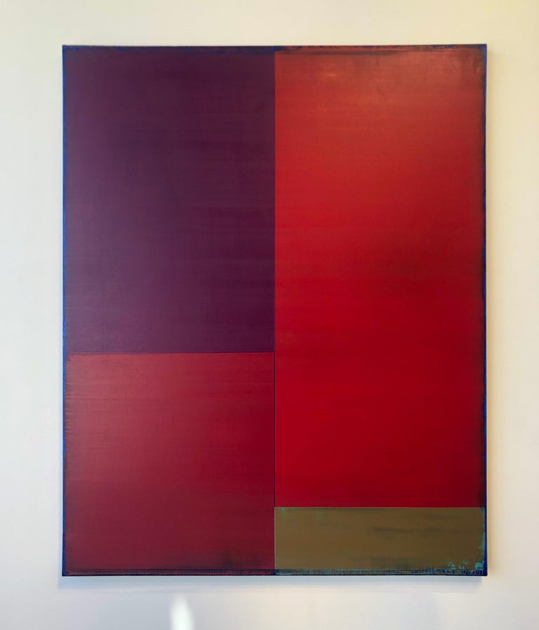 This vertical abstract acrylic and oil painting on linen is composed of rectangular blocks of vibrant color. Warm red and magenta are balanced by a deeply saturated dark purple and light brown. In the lower right corner the rectangle of beige paint
