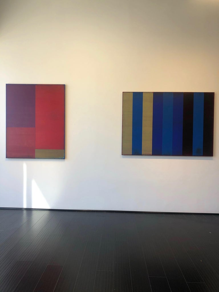 Passage Two, Vertical Abstract Color Field Painting, Purple, Red, Brown, Blue For Sale 2