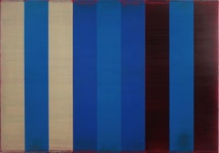 Voice Eight, Horizontal Abstract Painting with Blue, Beige, Black Color Blocks
