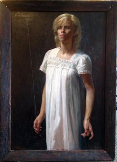 Lady in White, original oil painting by Steven Assael