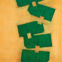 """Steven Baris """"Toppling D7"""" - Oil painting on Mylar"""