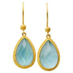 Steven Battelle 10.3 Carats Aquamarine Wire Earrings 18K Gold