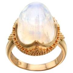 Steven Battelle 18.6 Carat Rainbow Moonstone Ring 22K Gold