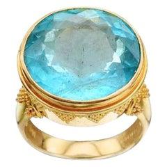 Steven Battelle 20.7 Carat Aquamarine Ring 18k Gold