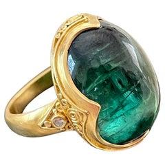 Steven Battelle 20.7 Carat Green Tourmaline Cabochon Diamonds 22K Gold Ring