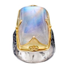 Steven Battelle 38.8 Carats Rainbow Moonstone Cabochon Gold Silver Ring