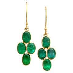 Steven Battelle 3.9 Carats Emeralds 18K Gold Wire Earrings