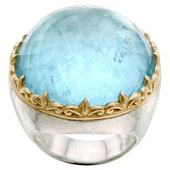 Steven Battelle 70.0 Carat Aquamarine Silver 18K Gold Ring