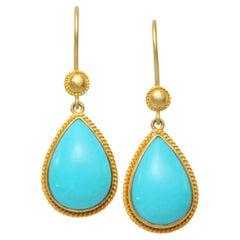 Steven Battelle 8.1 Carats Turquoise 18K Gold Drop Earrings
