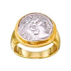 Steven Battelle Ancient Greek Alexander the Great Coin 18k Gold Ring