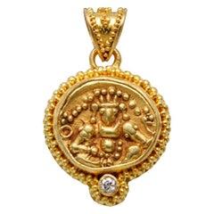 Ancient Indian 1500's Coin Diamond Pendant 22K Gold